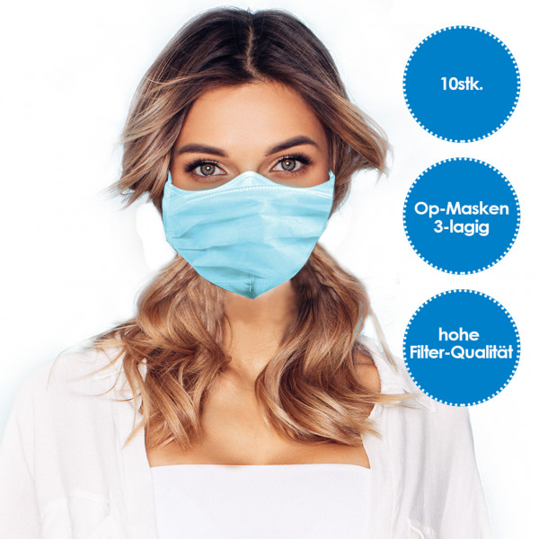 Face mask 3-layer blue 10 pieces