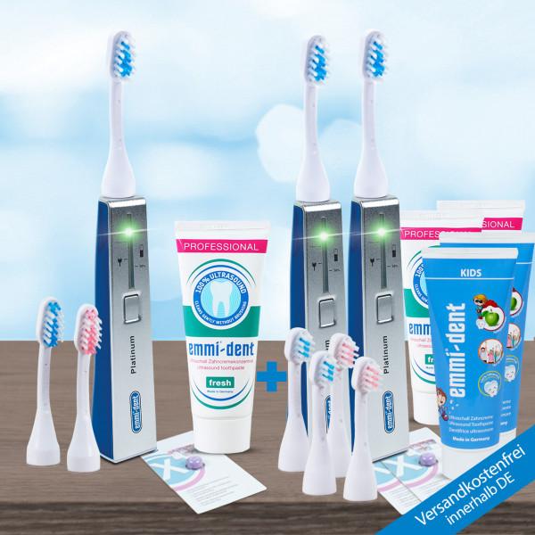 Ultrasonic toothbrush - Platinum triple Set - Blue
