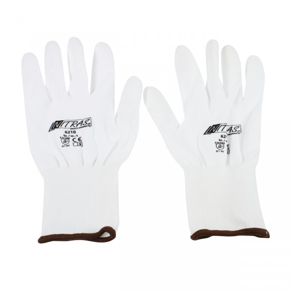 Nylon gloves white - L