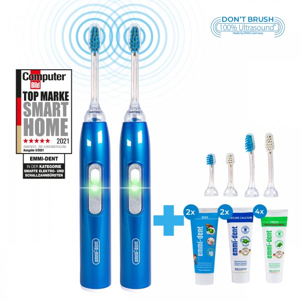 metallic-blue-family-set-emmi-dent-ultrasonic-toothbrush-with-kids-attachments-kids-toothpaste-nature-calcium-kids-family-two-hands