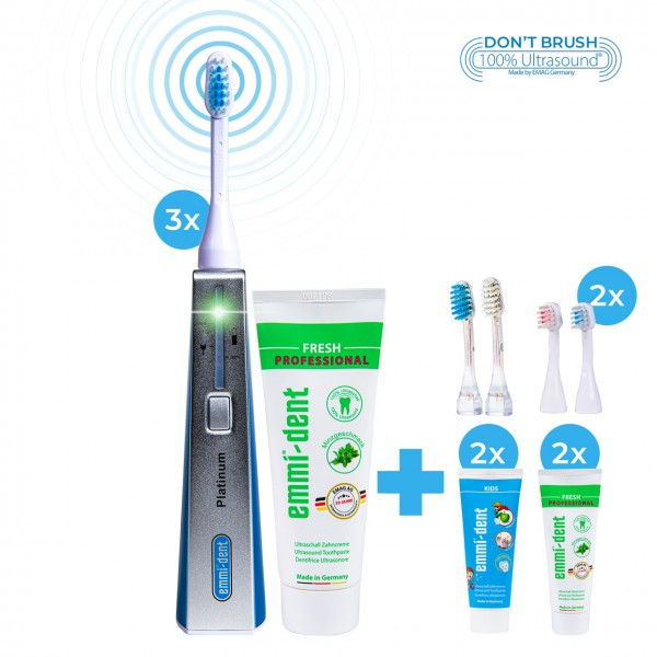 "Ultrasonic toothbrush - Platinum Triple Set ""Blue"""