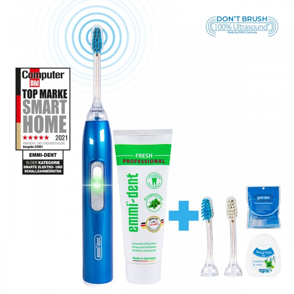 metallic-blue-all-around.package-emmi-dent-ultrasonic-toothbrush-with-internental-brushes-and-dental-floss