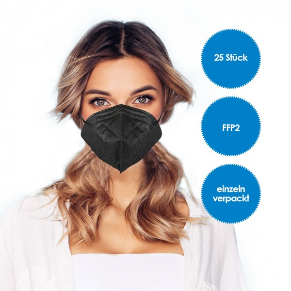 FFP2 Respirator Mask pack of 25 black