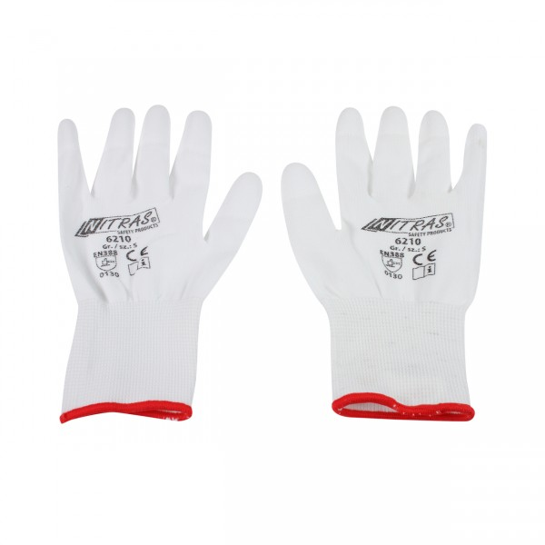 Nylon gloves white - S